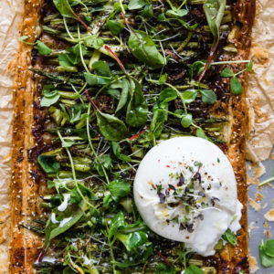 Whole vegetable tart with burrata.