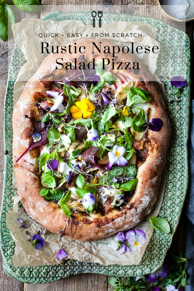Rustic salad pizza is a dream of farmer's market fruit and leaves piled onto a soft and fluffy pizza base with a crispy bottom and the sweetest tangiest onion jam to bring the whole thing together. #pizza #salad #saladpizza