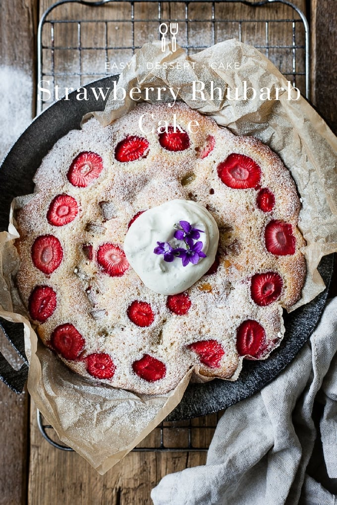 Strawberry Rhubarb Cake. Simple farmhouse style cake perfect for summer picnics and entertaining or just snacking. #cake #summer #strawberries #easyrecipe