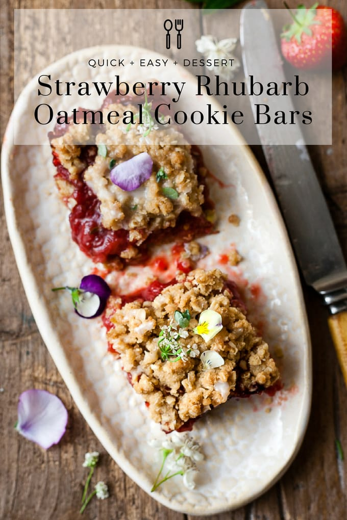 Sweet and buttery strawberry oatmeal cookie bars are filled with juicy, ripe fruit, sweet brown sugar and golden oats all baked to a chewy perfection. #dessert #granolabar #fruitdessert