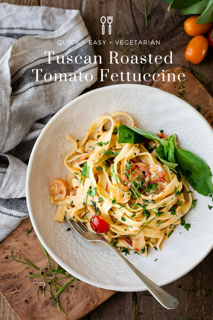 This silky creamy tomato pasta is bursting with juicy cherry tomatoes, peppery basil and just a kiss of cream to make it all slurpable. #pasta #creamypasta #vegetarian