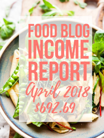 Pasta with text overlay for food blog income report.