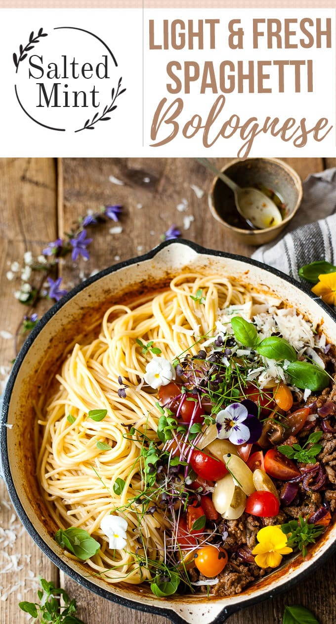 One pan pasta that's light and summery and full of fresh bursting cherry tomatoes. This farmhouse style bolognese is exactly what summer cooking is all about. One pan, fresh ingredients, and only 30 minutes. #pasta #quickpasta #dinnerideas