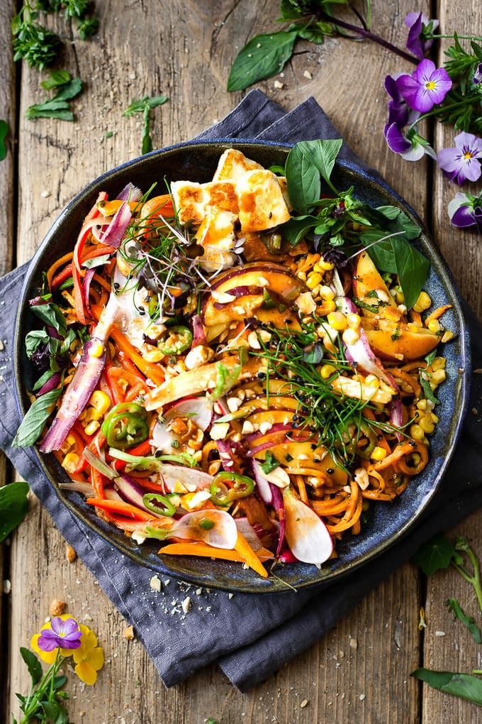 Asian Noodle Salad with Spicy Peanut Basil Dressing