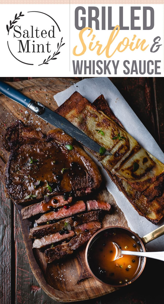 This easy grilled sirloin steak recipe is the perfect quick dinner. This recipe gives you all the tips and tricks on how to cook the perfect steak. Served with a whisky peppercorn sauce for an extra punch of flavor. #summerrecipe #easyrecipe #steak #grilling