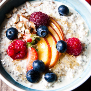 Healthy overnight oats with fruit.