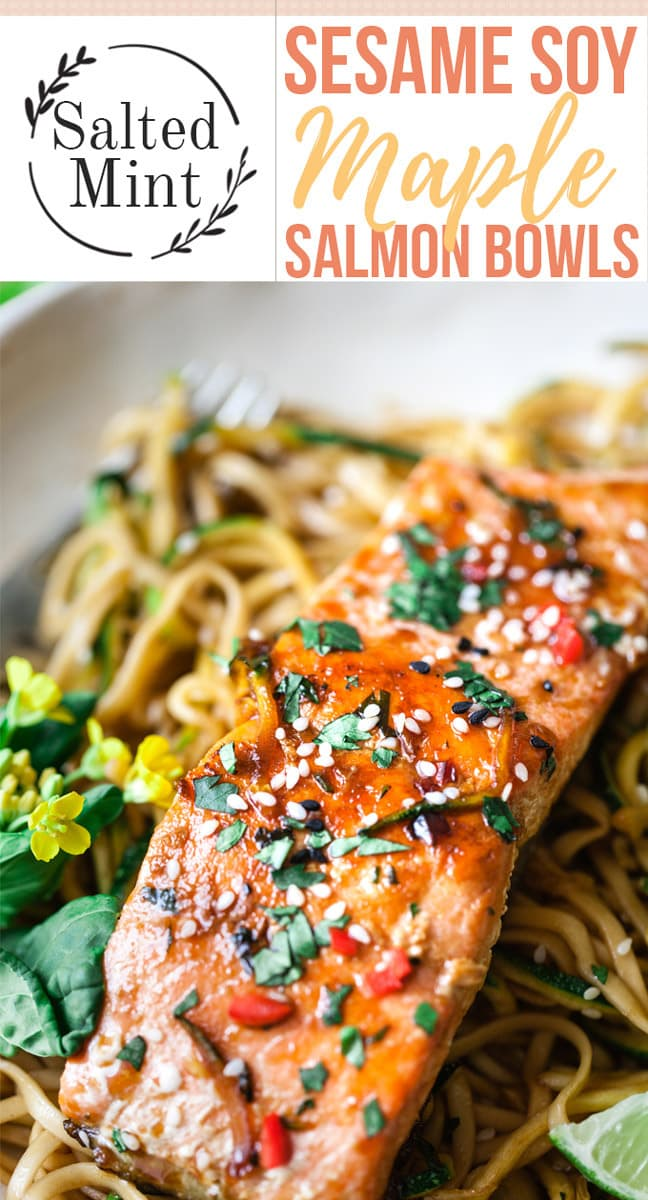 This easy maple glazed salmon recipe is a healthy weeknight dinner that's ready in only 20 minutes. Pan seared for a crispy skin, served over saucy zucchini noodles this is an easy low carb weeknight dinner dream. #easydinner #salmon #easyrecipe #cleaneating