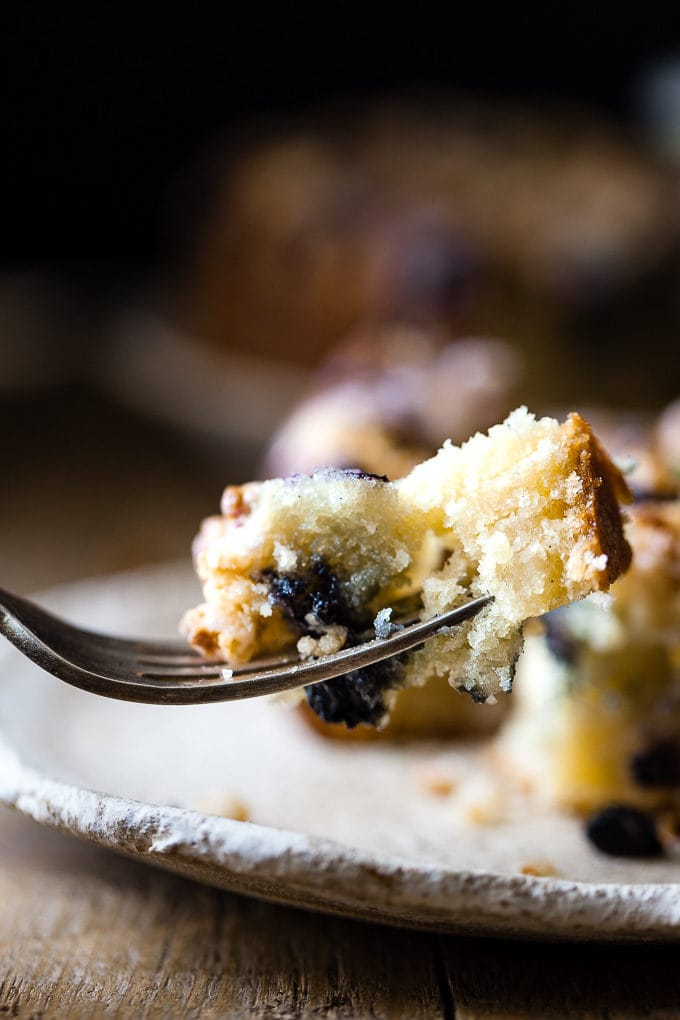 Blueberry coffee cake with a fork