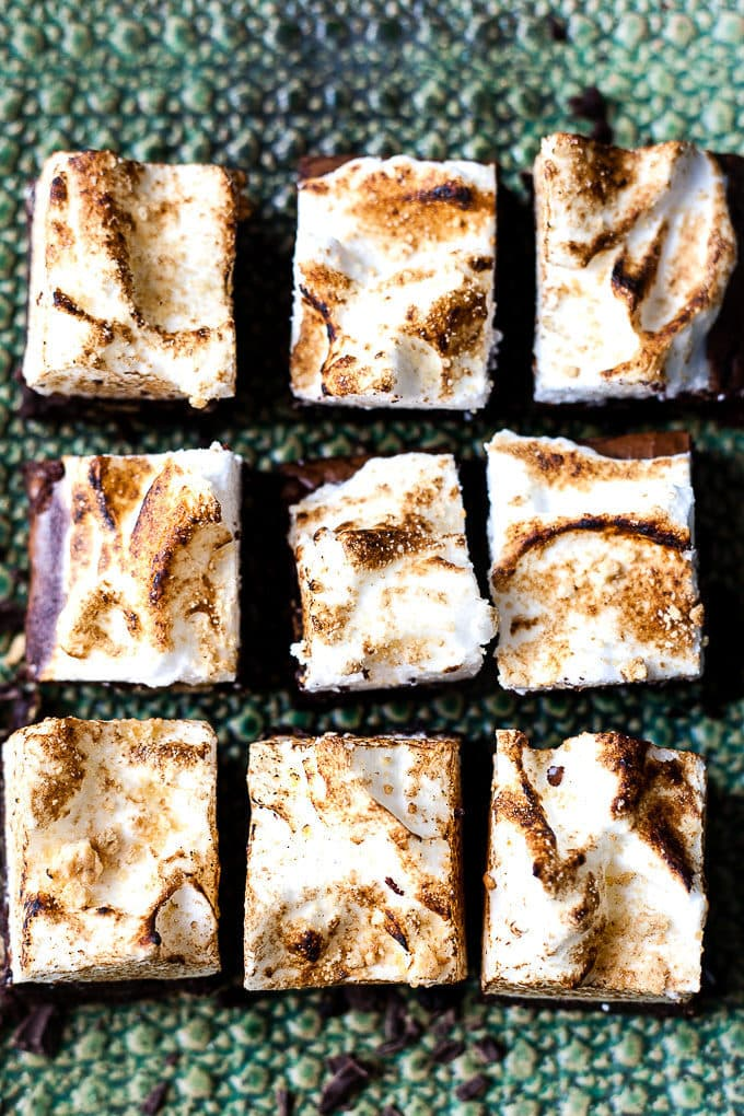 S'mores brownies on a textured green platter