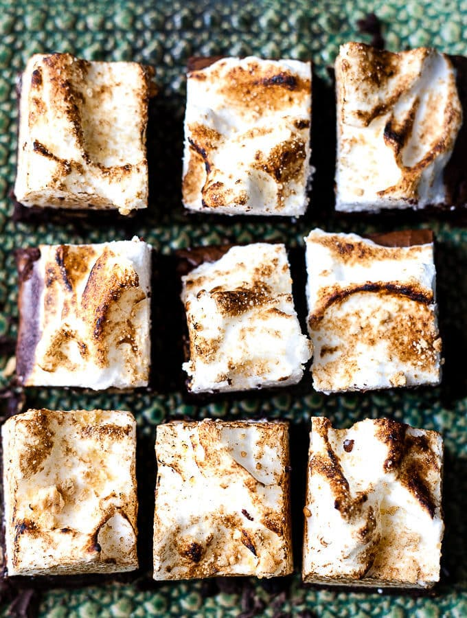 S'mores brownies on a green platter.