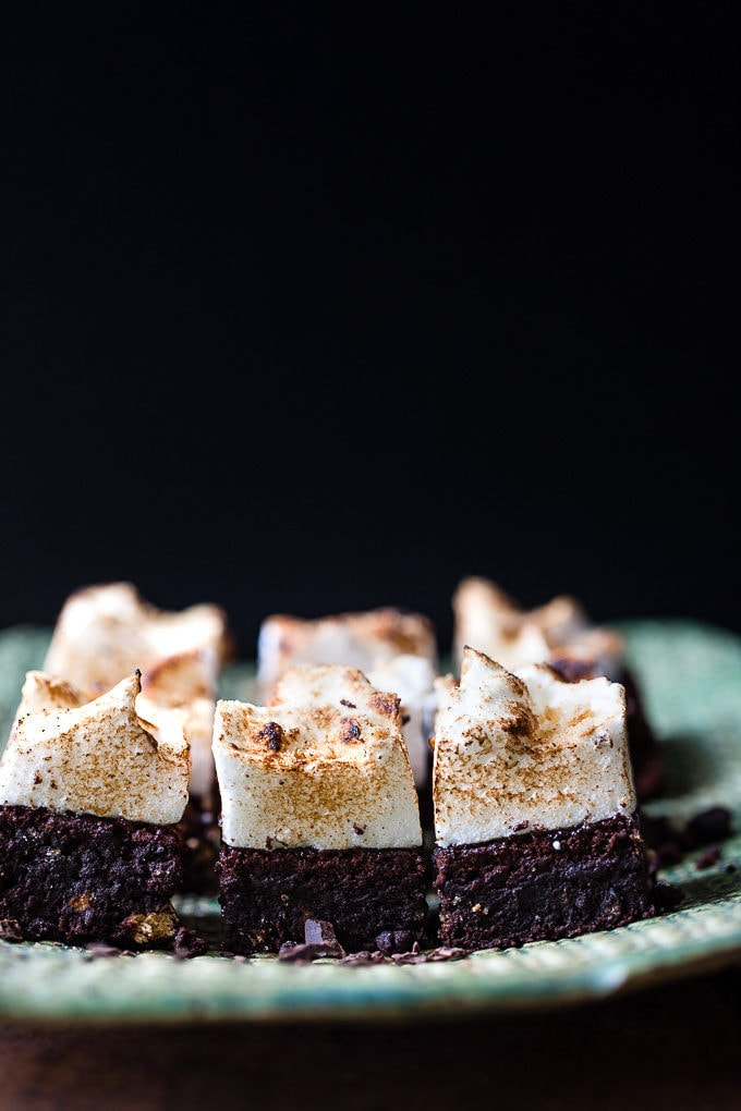 s'mores brownies with a black background