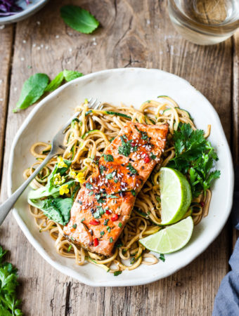 Maple glazed salmon on noodles