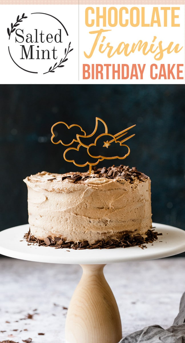 This homemade classic tiramisu cake is perfect for a casual cake. It's easy to decorate with just a few chocolate curls and some cocoa powder. Espresso and liqueur-soaked sponge are sandwiched with a mascarpone frosting for the perfect birthday cake. #tiramisu #cake #birthdaycake #dessert #Italiandessert