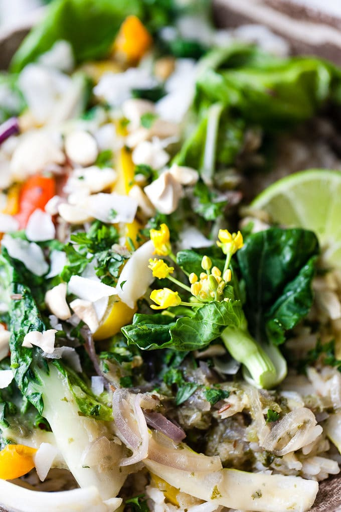 vegetarian Thai green curry in a bowl with greens