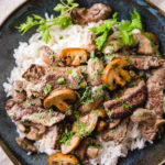 Easy beef stroganoff with rice in a bowl