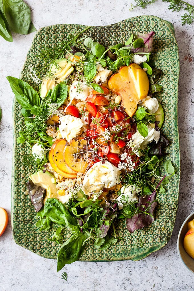 Grilled Peach Salad with Mozzarella and Farro