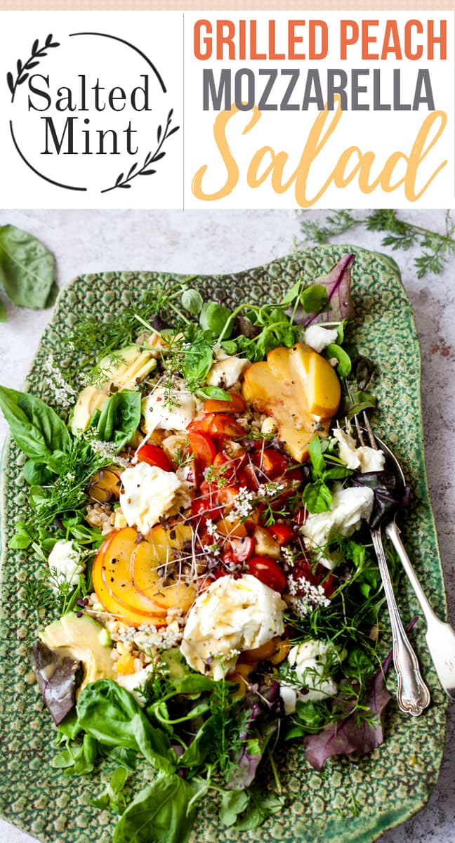 This grilled peach salad is packed with juicy peaches, creamy avocado and mozzarella and bright fresh tomatoes. A sweet maple olive oil dressing balances out the smokiness from the peaches and farro, an ancient grain, gives this salad enough body to be the perfect meal. #salad #easymeal #easyrecipe #cleaneating