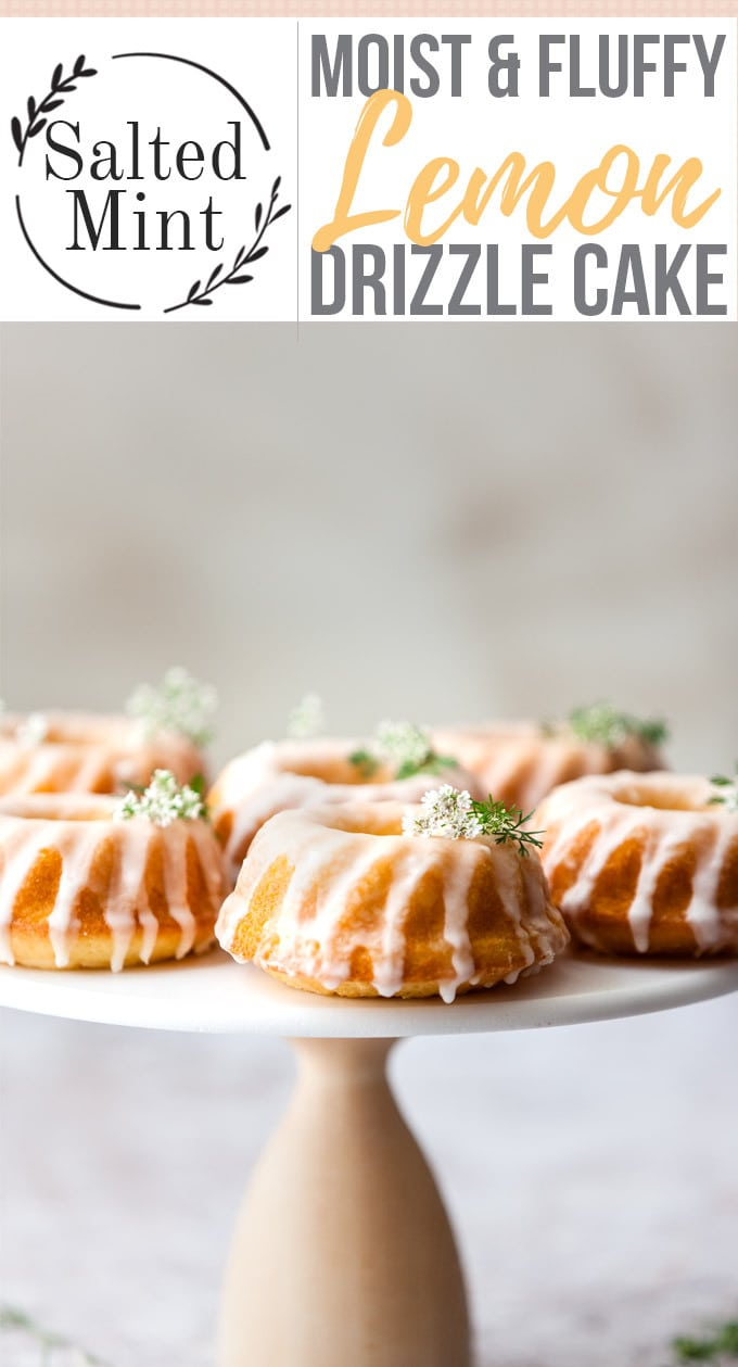 This Easy Lemon Drizzle Cake is Mary Berry's classic recipe with a twist. Not one to mess with the classics we've updated the decoration and style but left the recipe alone. These lemon drizzle cakes have been turned into mini bundt cakes with all the classic easy moist lemon flavors that we love. #dessertmasters #easybaking #easyrecipe #cake