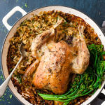 roast chicken dinner in a pot