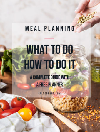 Guide to meal planning with text overlay