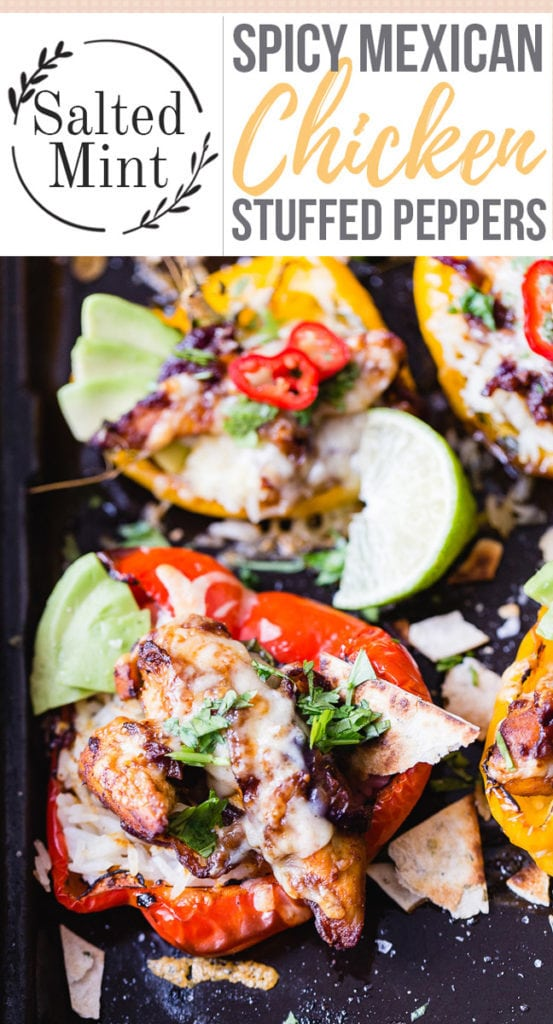 Chicken stuffed peppers with text overlay