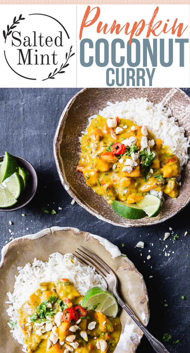 Easy and healthy pumpkin curry is a vegetarian dinner that all the eaters at your table will love. Sweet pumpkin with fragrant curry spices and fluffy rice is the perfect fall dinner. It's packed with nutrition and is beyond delicious which means that it's a new classic. #easyrecipe #fallrecipe #dinner