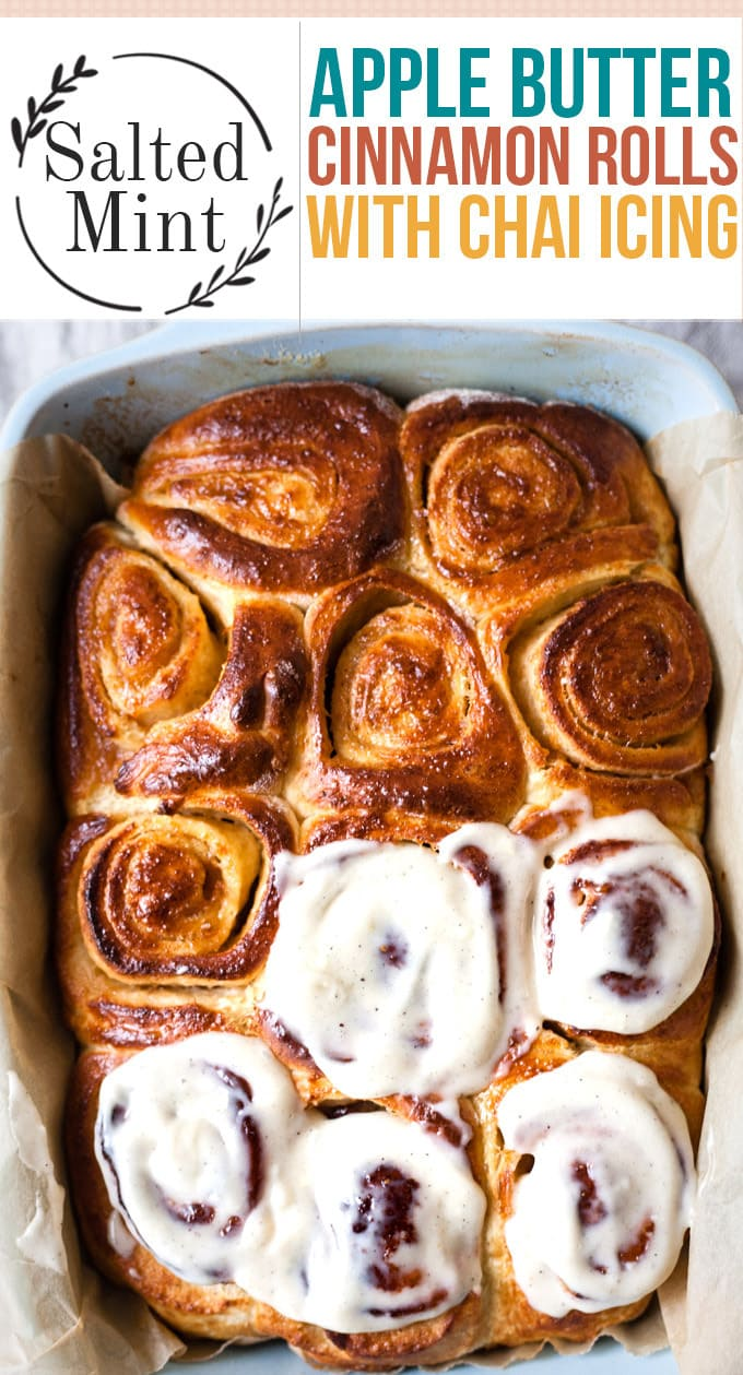 This is an easy, homemade cinnamon roll recipe that's perfect for making overnight. A simple recipe filled with gooey, apple butter cinnamon filling. A soft, rich dough wraps around the filling and is perfect when frosted with a chai cream cheese frosting. Your family will Love these cinnamon rolls from scratch! #fallrecipe #fallbrunch #christmasbaking