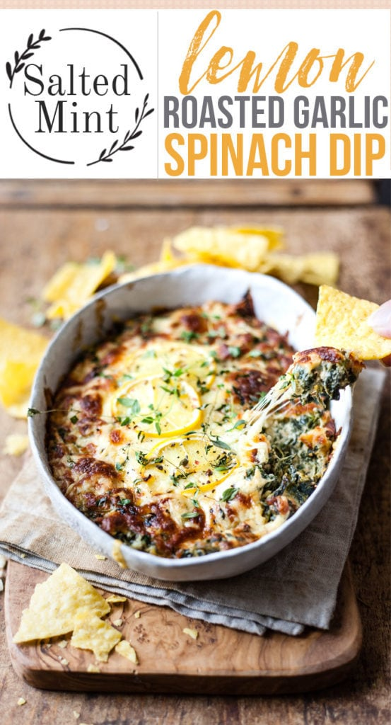 Hot Spinach Dip in a dish with chips on a bread board. With Text overlay.