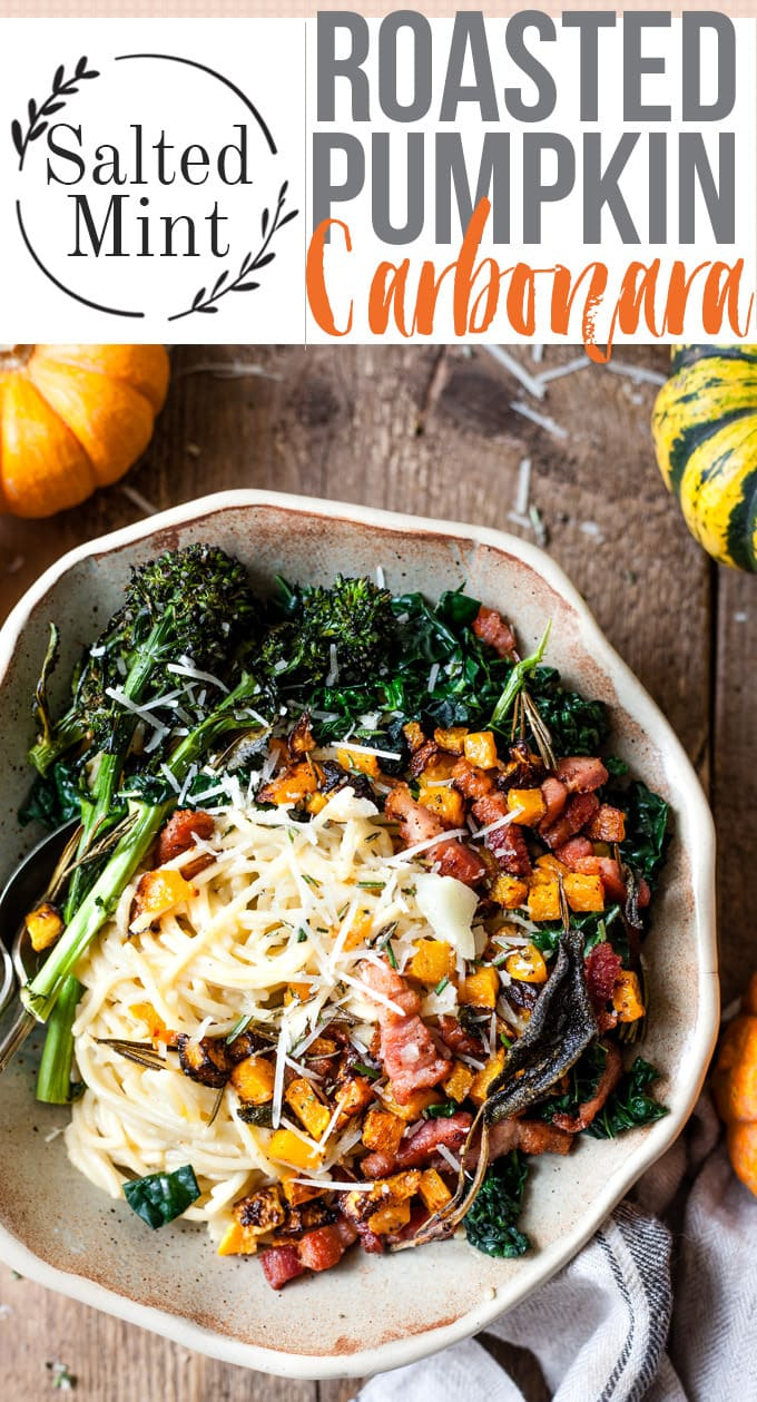 This spaghetti carbonara with cream is the perfect quick comfort dinner. Silky, creamy sauce smothering angel hair noodles and everything brought together with smokey bacon. This version has the twist of roasted pumpkin just for an extra layer of comfort food. So good you'll be slurping noodles straight from the pan. #fallrecipes #pastarecipes #easydinnerrecipes