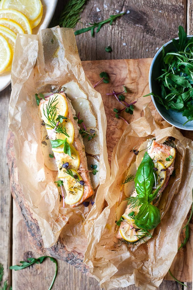 Salmon in parchment with fresh herbs.