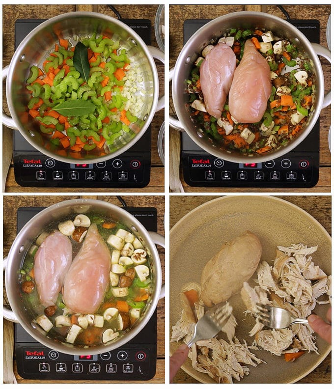 Step by step of the first 4 steps of making creamy chicken wild rice soup