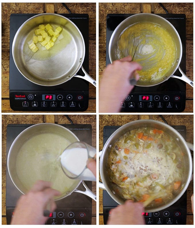 Step by step of making the roux sauce for the creamy chicken wild rice soup.
