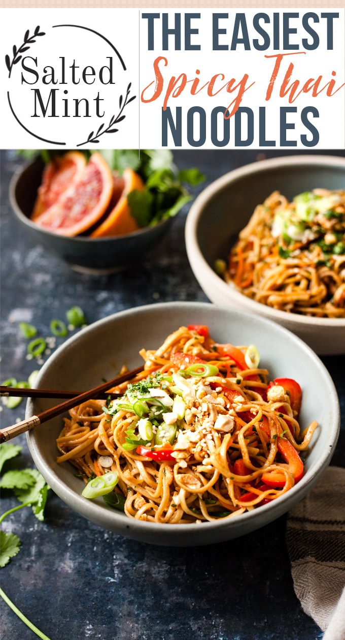 These spicy Thai peanut noodles are the perfect vegetarian dinner for a busy weeknight. They're so healthy and easy to make and that spicy peanut sauce is drinkable! These noodles are spicy, creamy, with a hint of juicy citrus. Add chicken or shrimp for extra protein, or keep it vegetarian and add some grilled halloumi or fried tofu. Topped off with crunchy peanuts and cilantro this is noodle bowl heaven. #noodles #easyrecipe #healthyrecipe