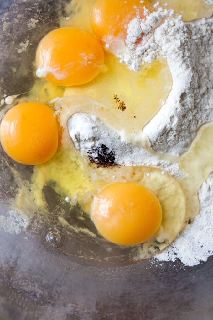 Eggs and flour in a bowl.