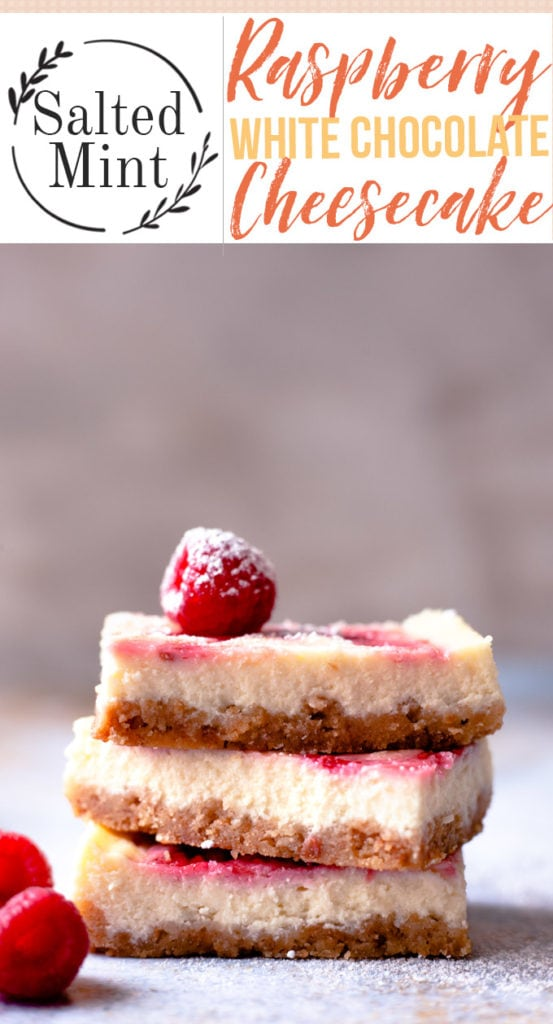 stack of three cheesecake bars with raspberries with text overlay